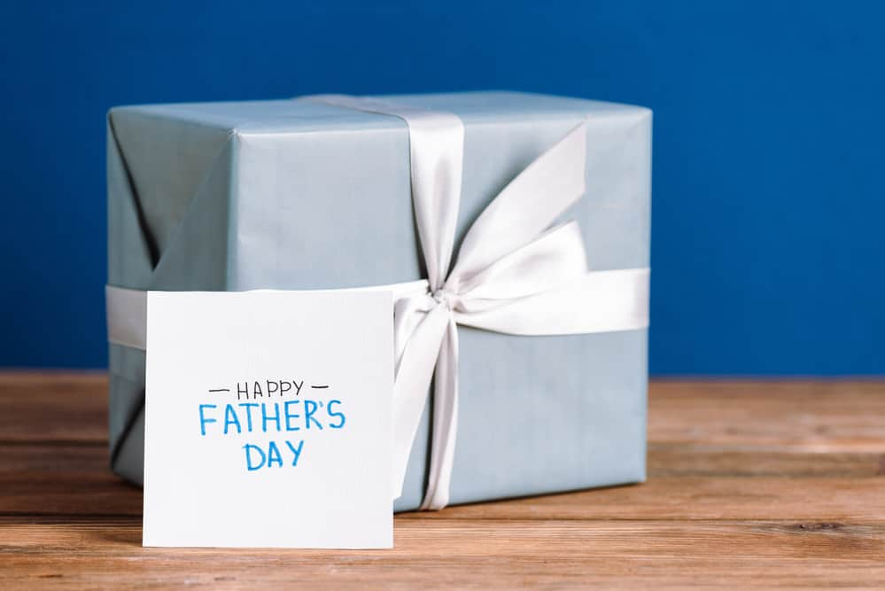 A square box wrapped up in a box for Father's day