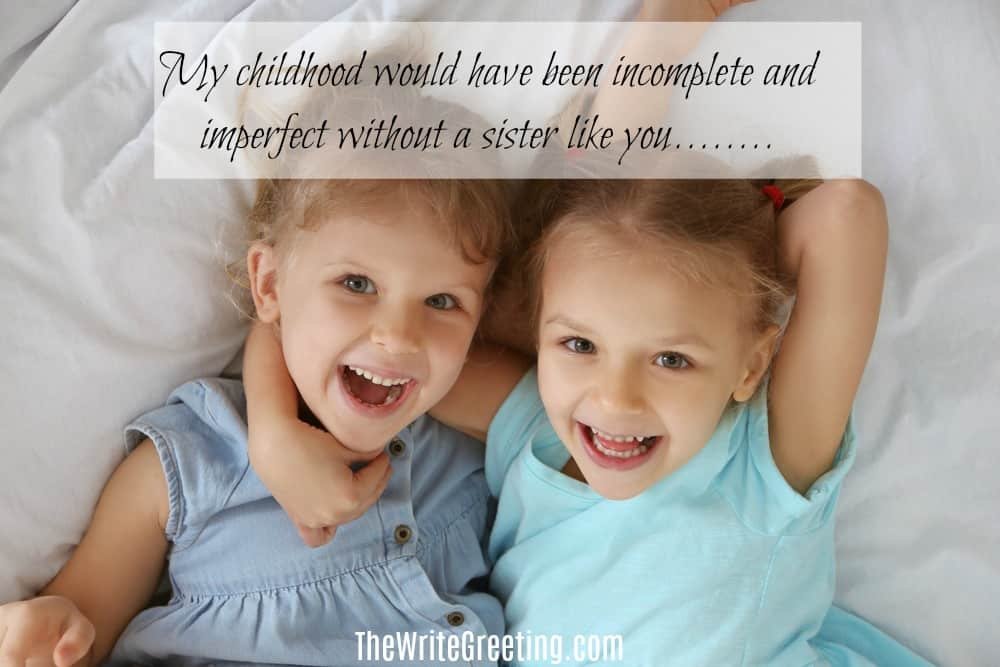 Adorable sisters lying in bed with their arms around each other