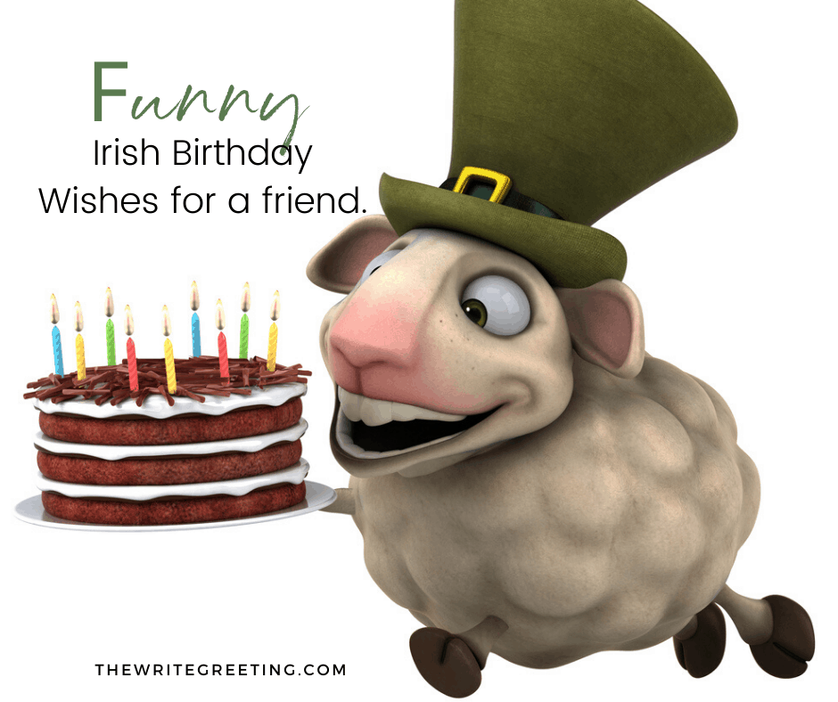 a Funny sheep with an Irish hart on