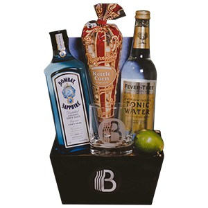 Gin and tonic in a fathers day basket