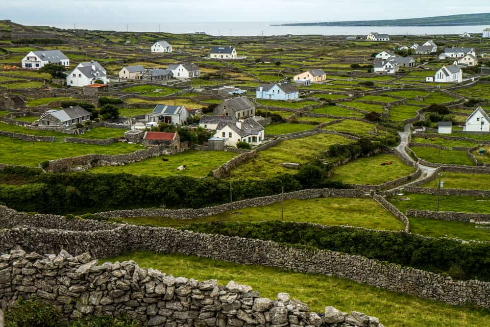 Houses scattered across greenery in Ireland