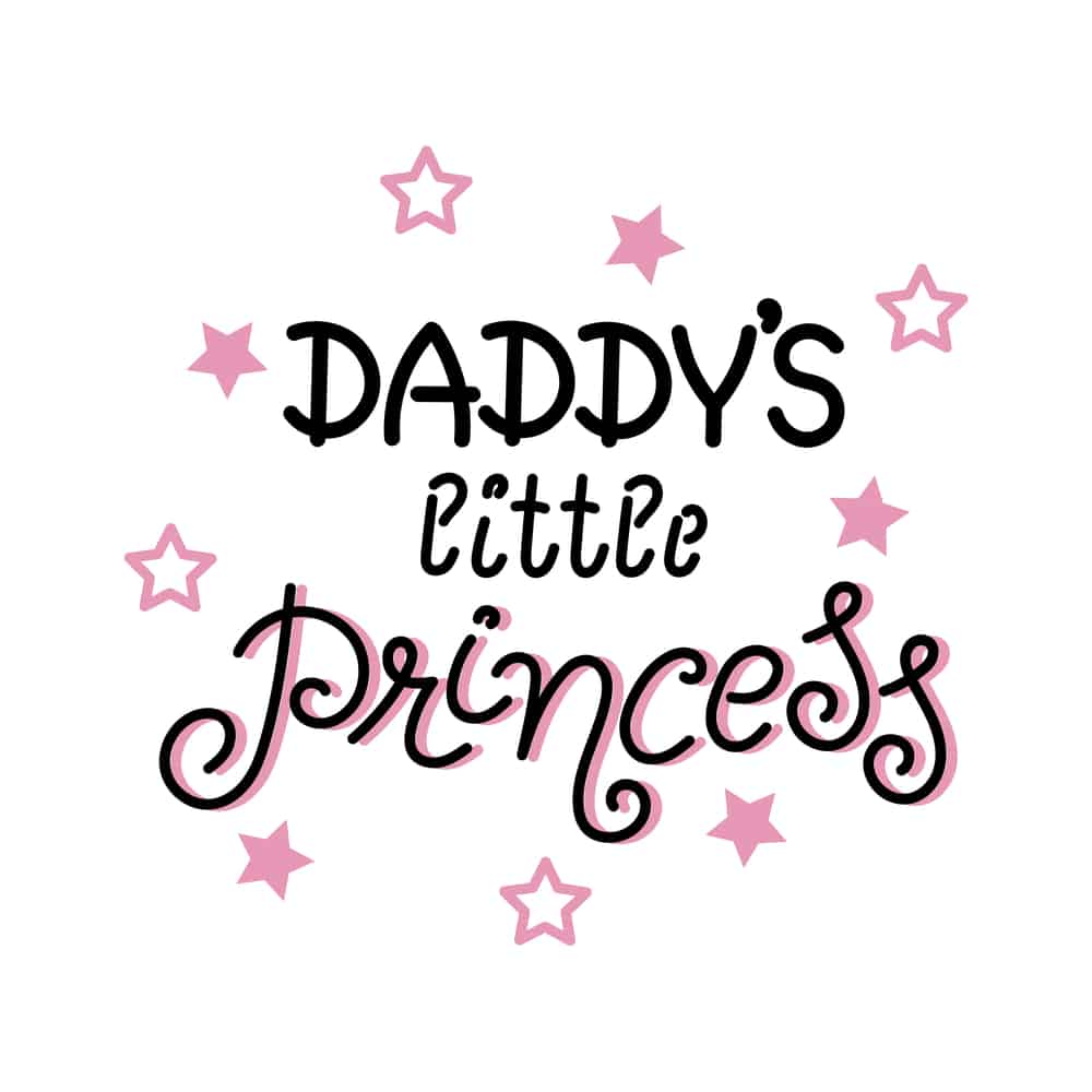 Daddy's little princess written in pink on a white background
