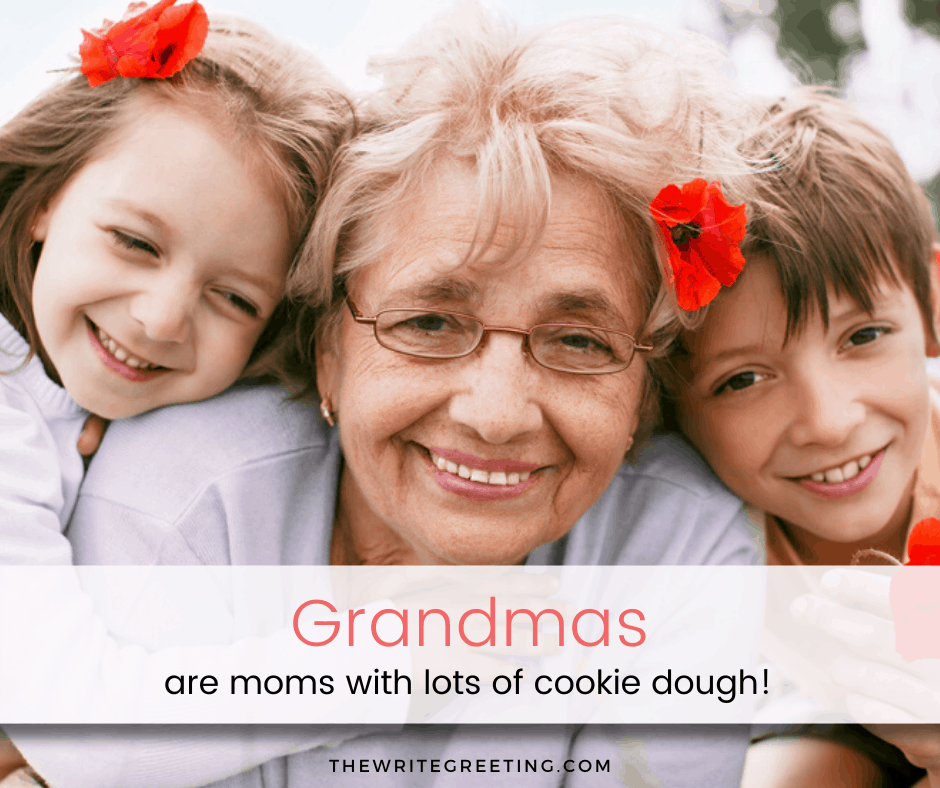 Grandma in the middle of her granddaughter and grandson