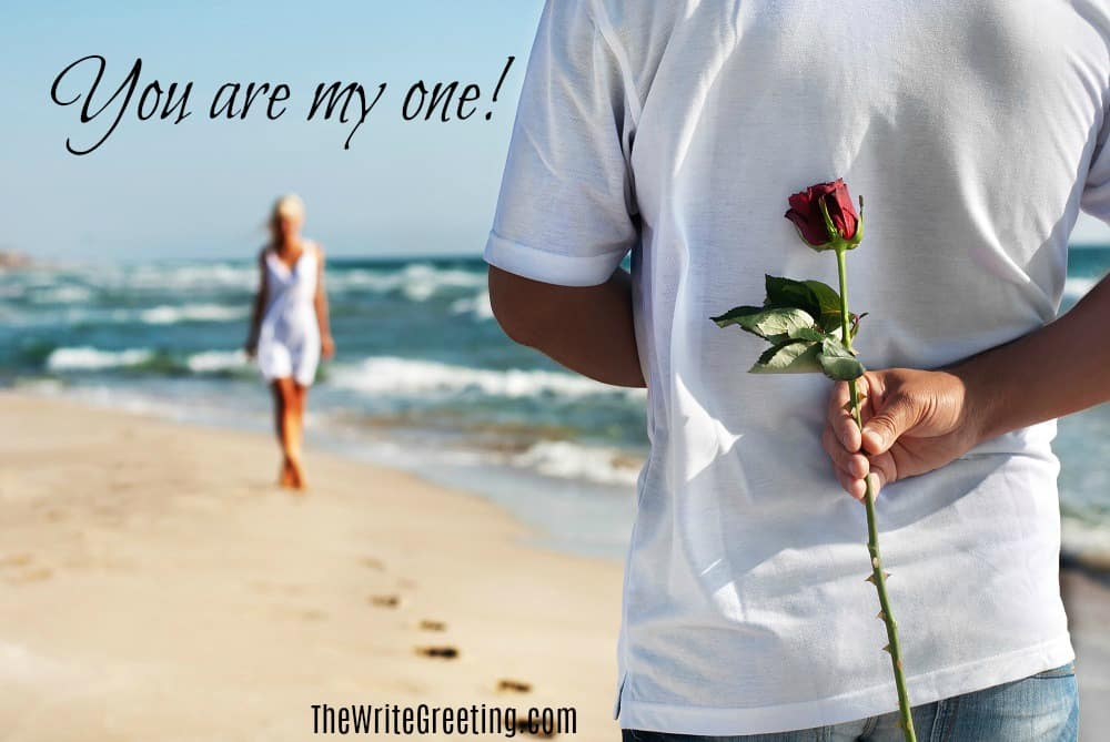 A man standing on beach with rose behind his back