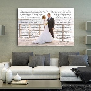 wedding photo with vows printed