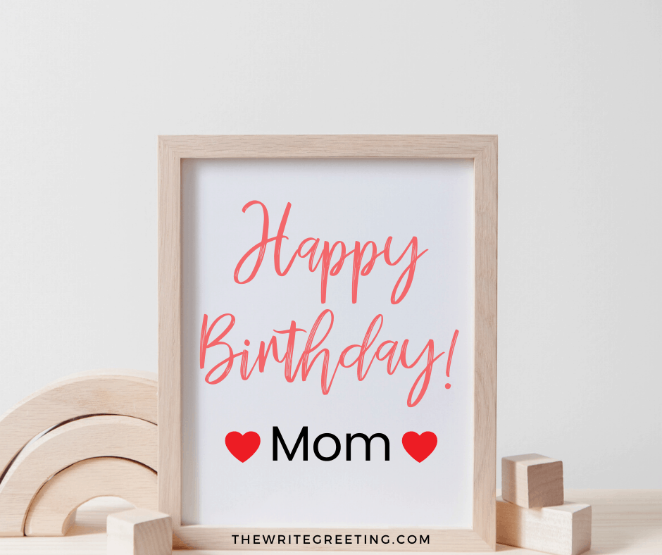 A sign on the wall with happy birthday mom on it