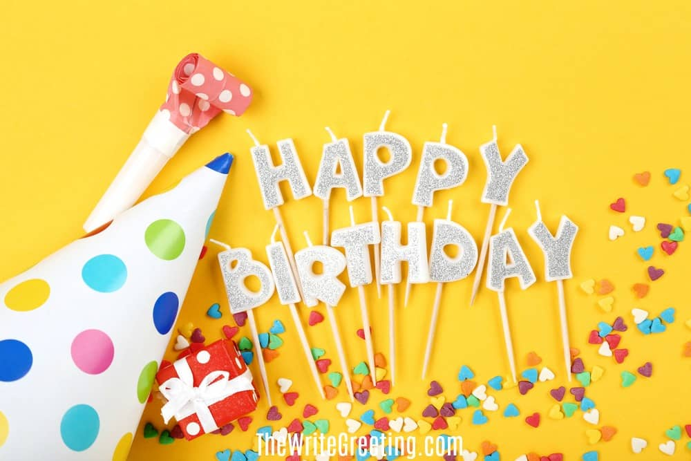 Happy birthday text on yellow background with confetti