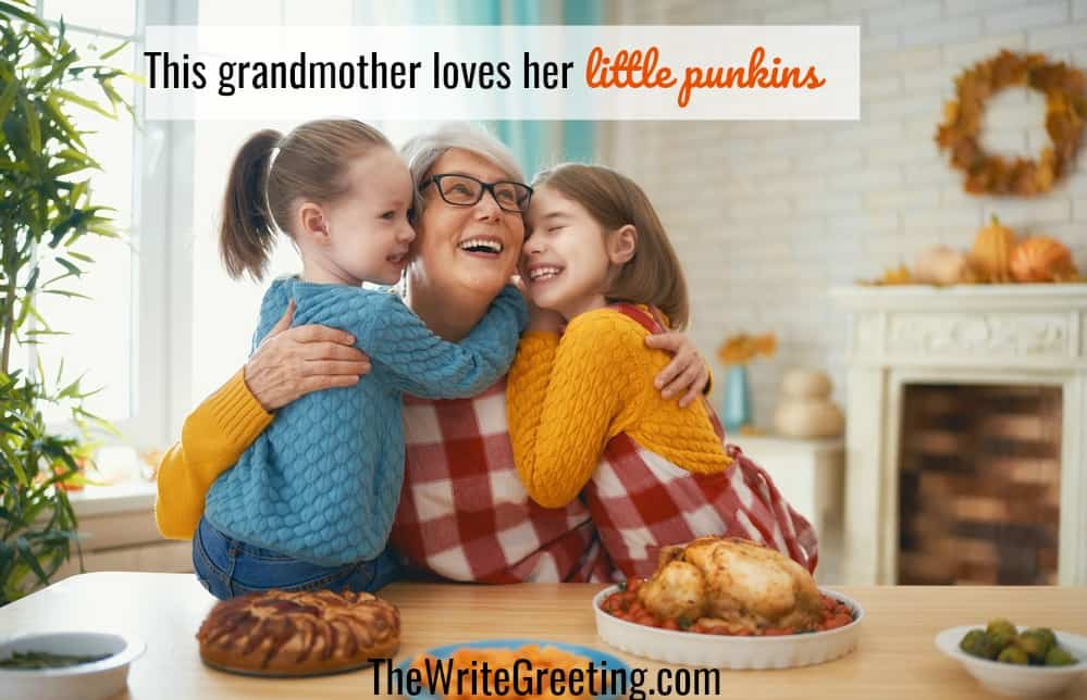 Grandmother getting kisses from granddaughters at thanksgiving