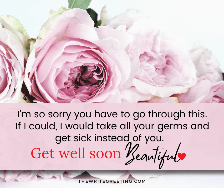 Get well soon text surrounded by pink flowers