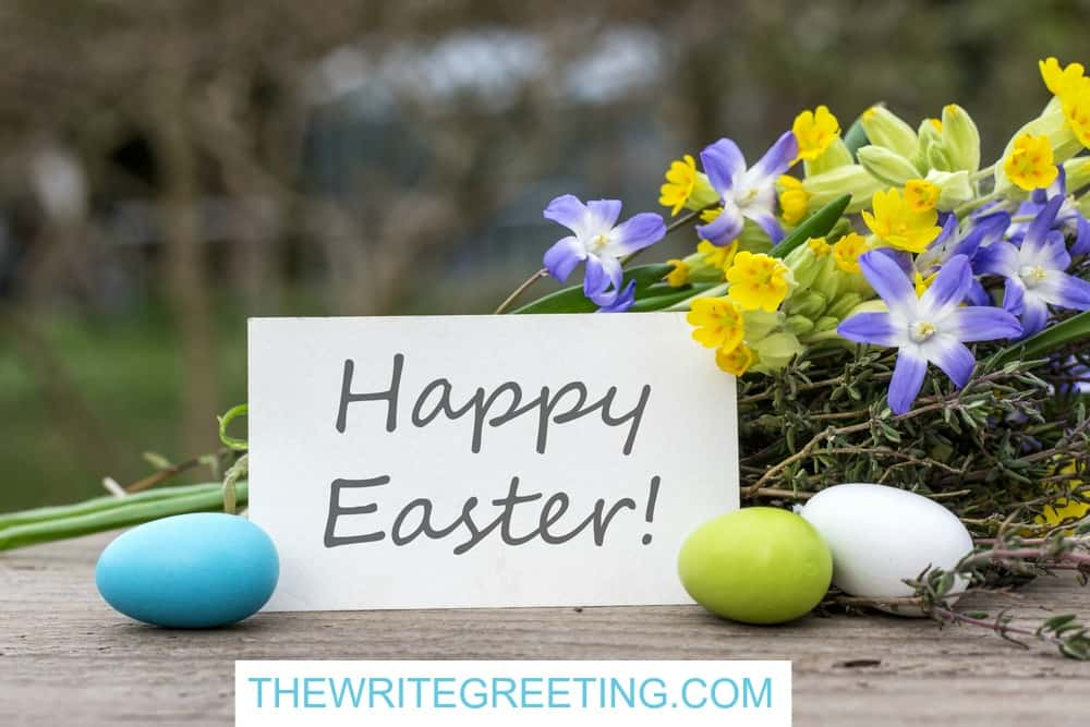 a card with Happy Easter on it surrounded by blue flowers and eggs