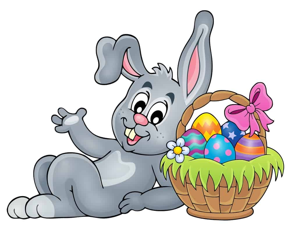Basket with eggs and Easter bunny