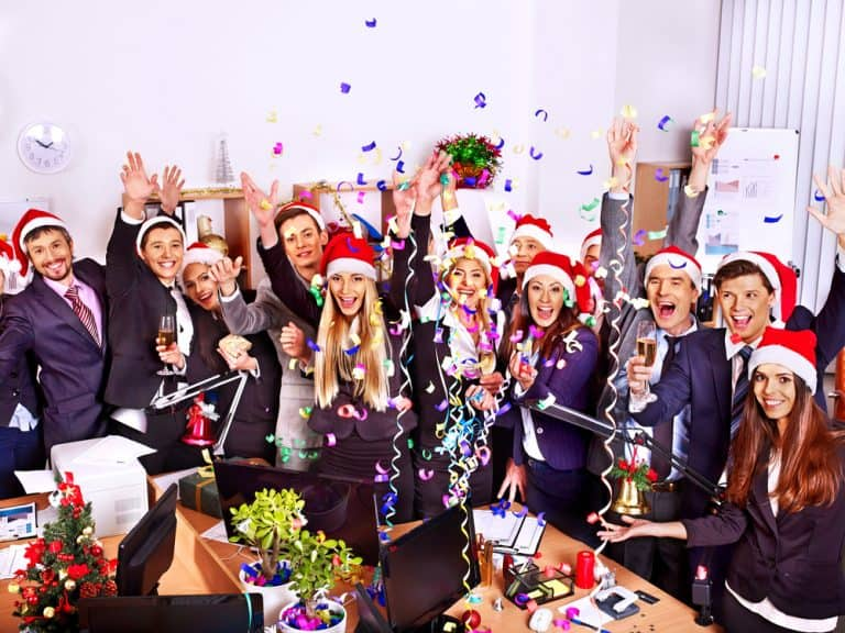Office workers enjoying Christmas party