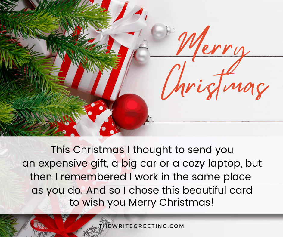 Christmas message written on a christmas tree background