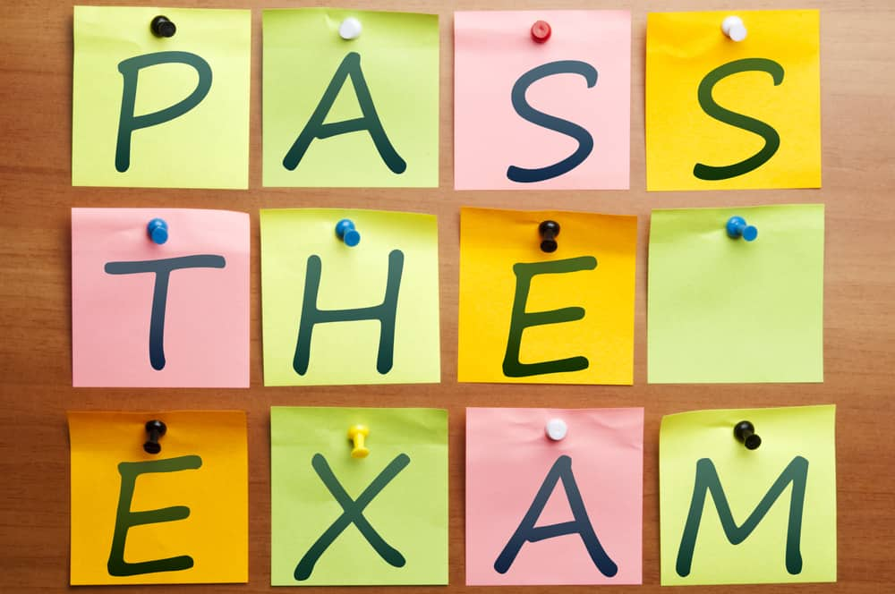 Pass the exam written in post it notes