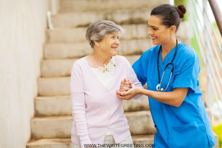 caregiver with elderly lady