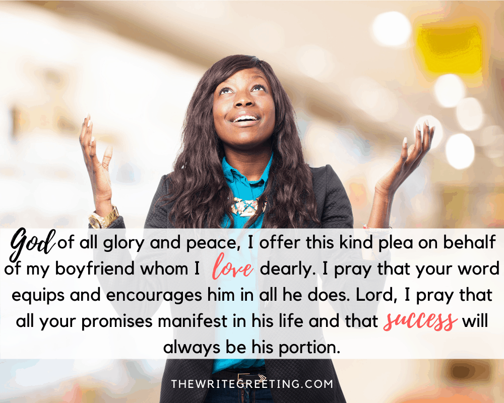 African American woman praying with hands in air