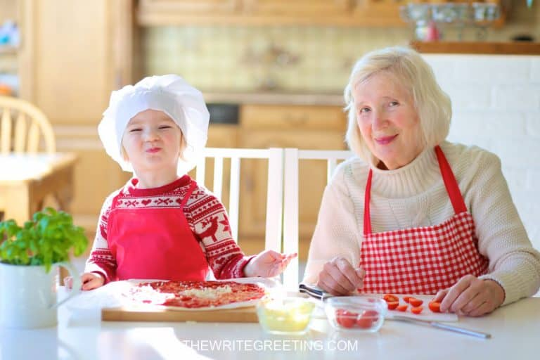 Grandma cooking with grandsom