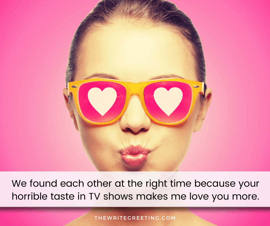 woman with pink heart glasses