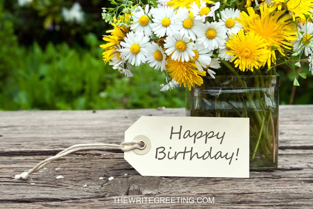 yellow daisies with happy birthday text