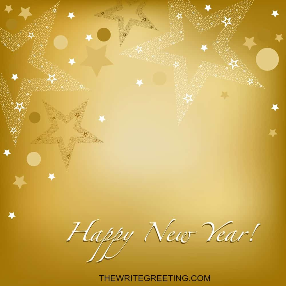 Happy new year text on gold background