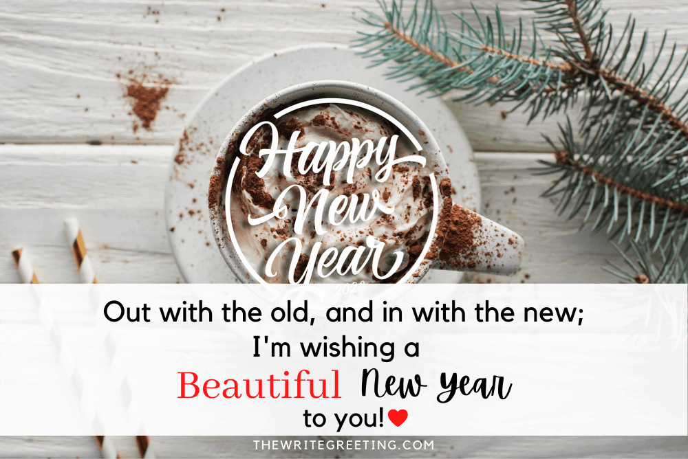 Happy New Year written in cup of coffee