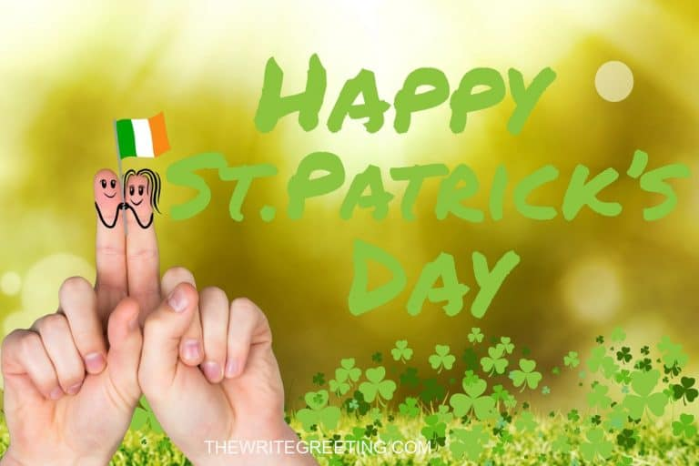 Patricks day fingers with irish flag on green background