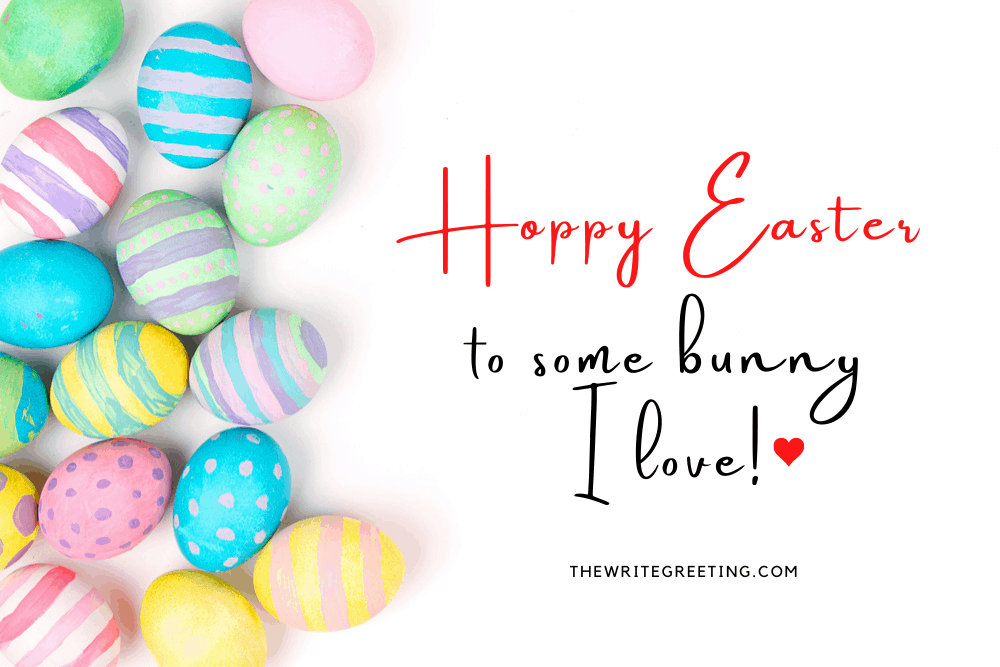 Colored Easter Eggs on white background with text