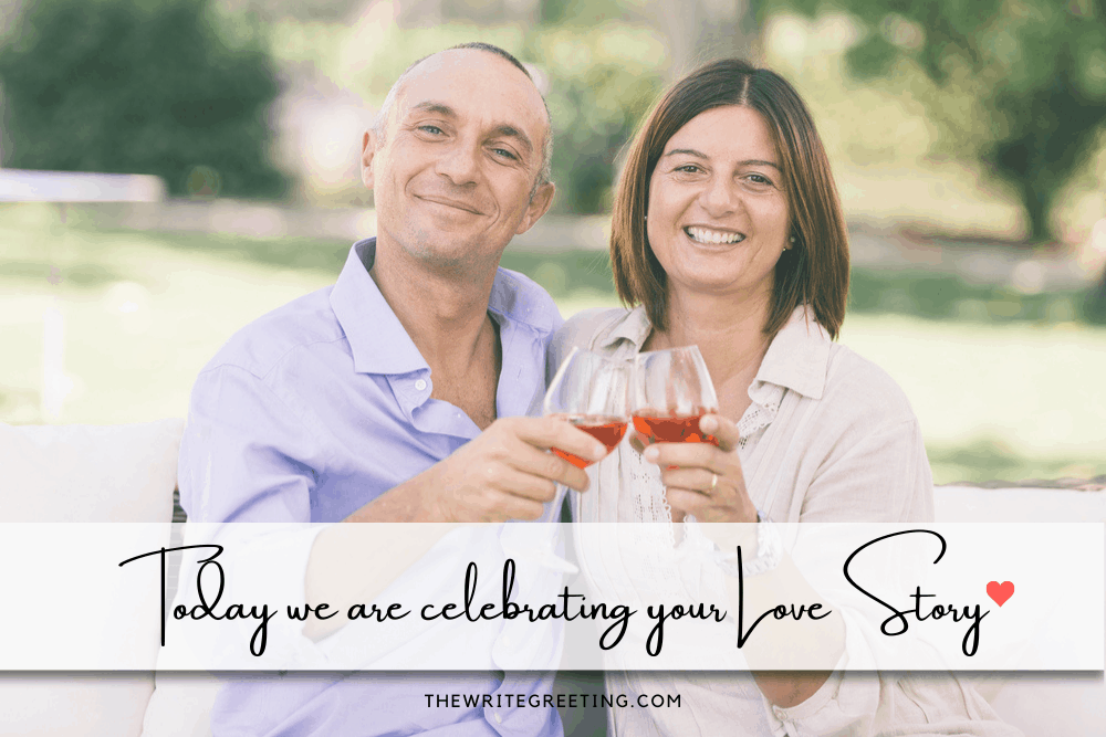 married couple celebrating wedding anniversary with blush wine