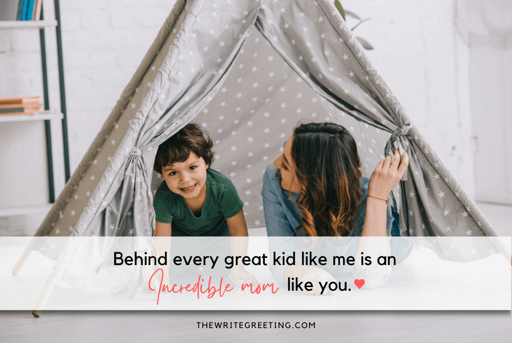 mom and young son playing in tent