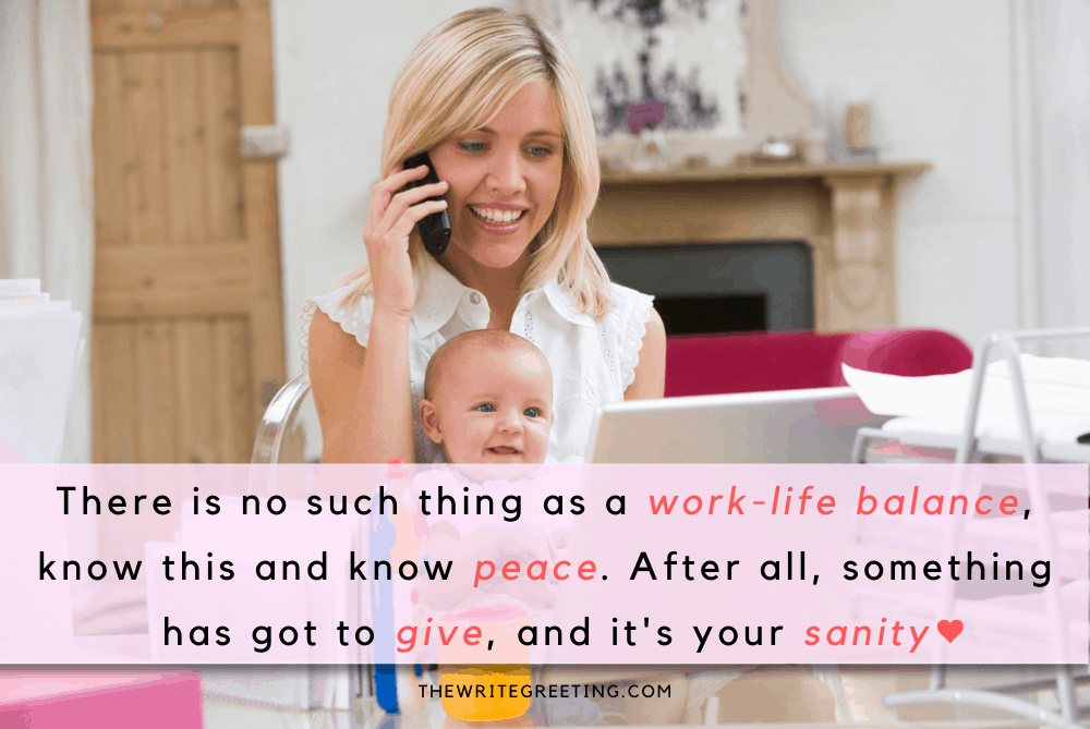 Blond working mom on phone holding young baby